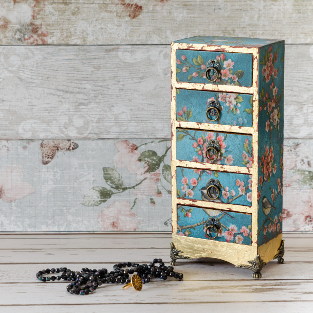 """Decoupaged Mini Chest of Drawers"" stock image"