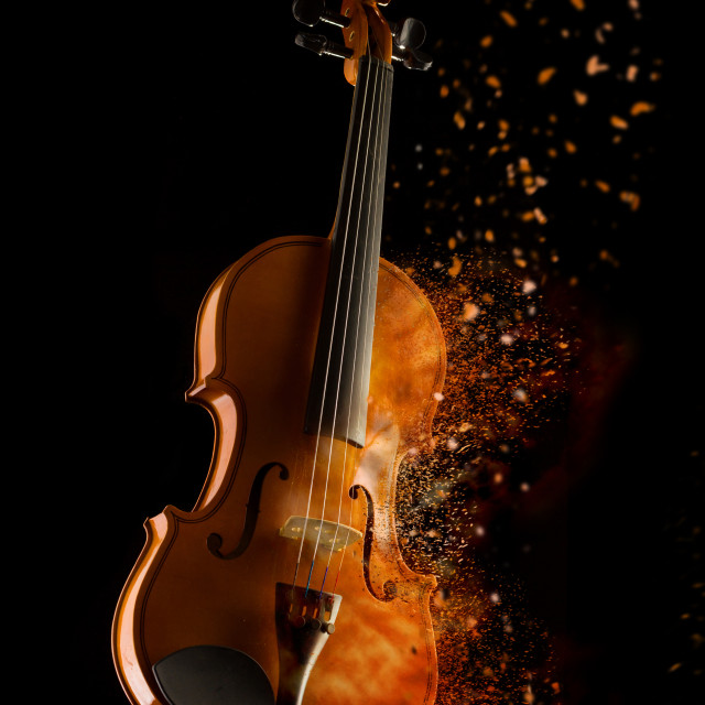"""""""violin and bow isolated on black"""" stock image"""