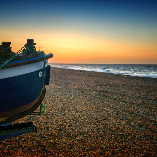 """Last seconds of sunset in North Norfolk"" stock image"