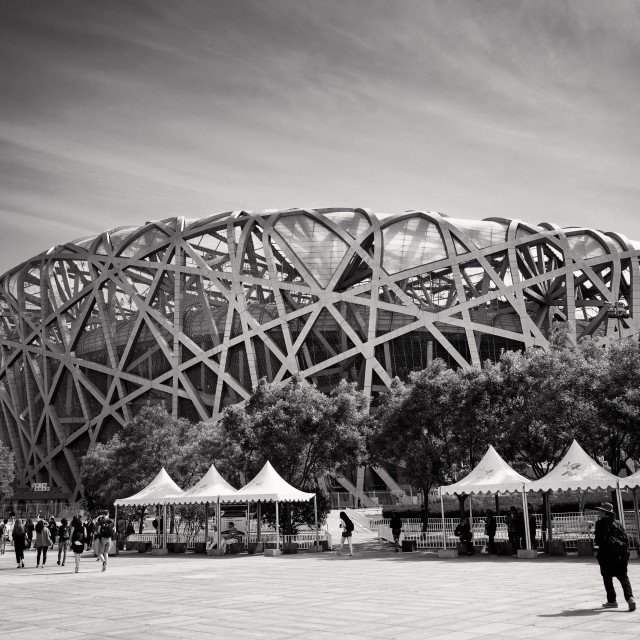 """Beijing National Stadium b&w"" stock image"