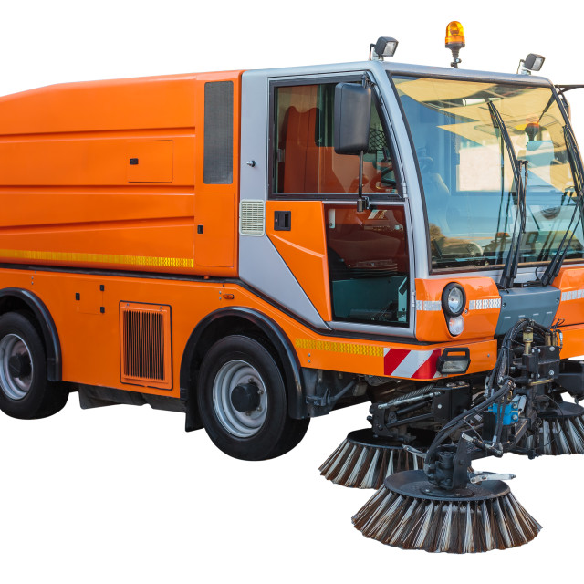 """""""Street sweeper machine isolated with clipping path"""" stock image"""