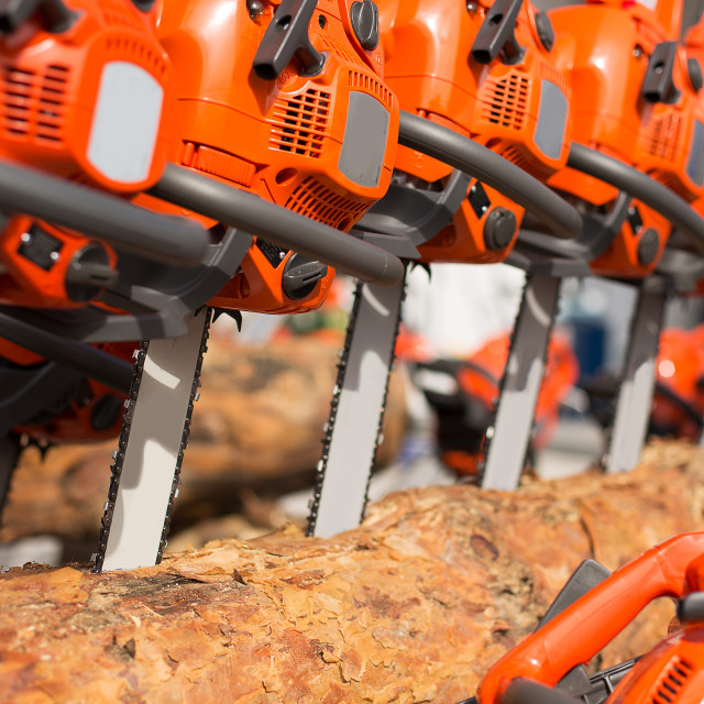 """""""New Chainsaw machines over heap of firewood outdoor"""" stock image"""