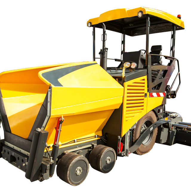 """Construction machinery – Wheeled Paver isolated"" stock image"