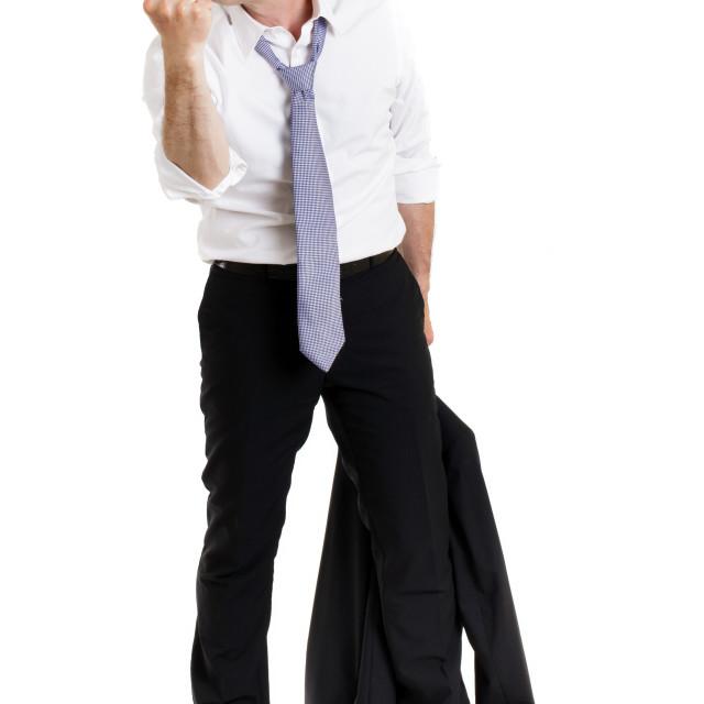 """Enraged man making a threatening fist"" stock image"