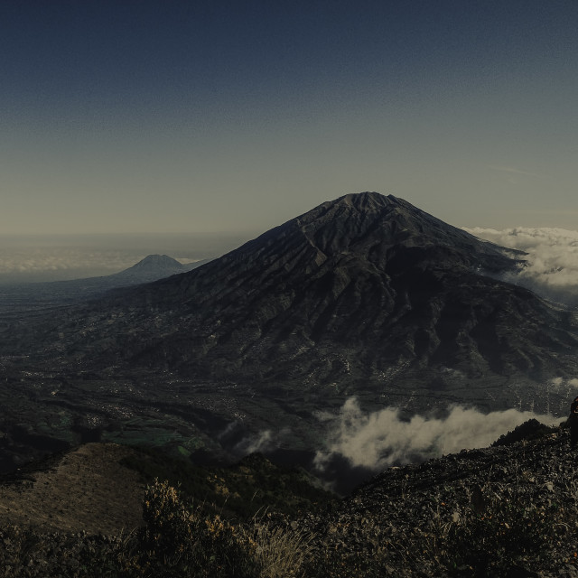 """View of Mt Merbabu"" stock image"