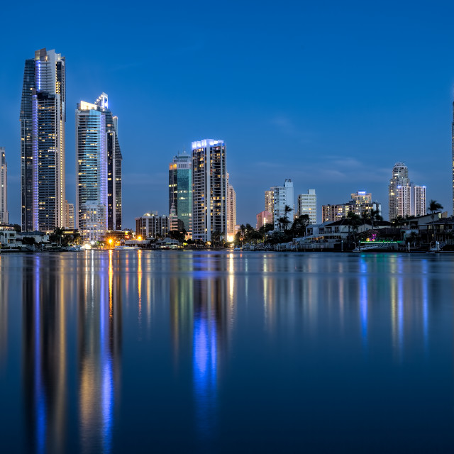 """Dusk at Summer Surfers Paradise"" stock image"