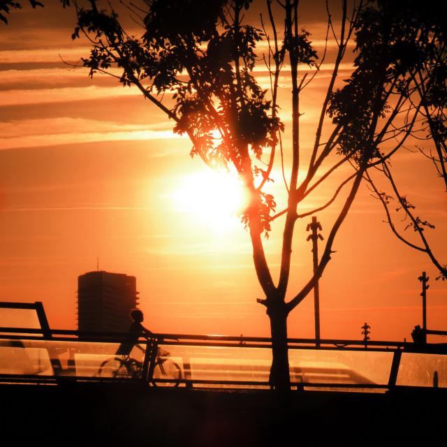 """""""Sunset at Riverside in Zaragoza Expo"""" stock image"""