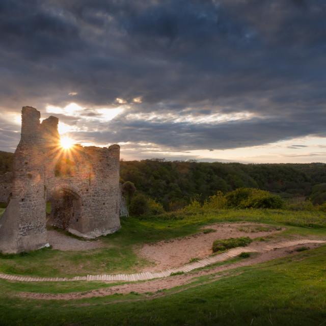 """Pennard castle Sunset"" stock image"