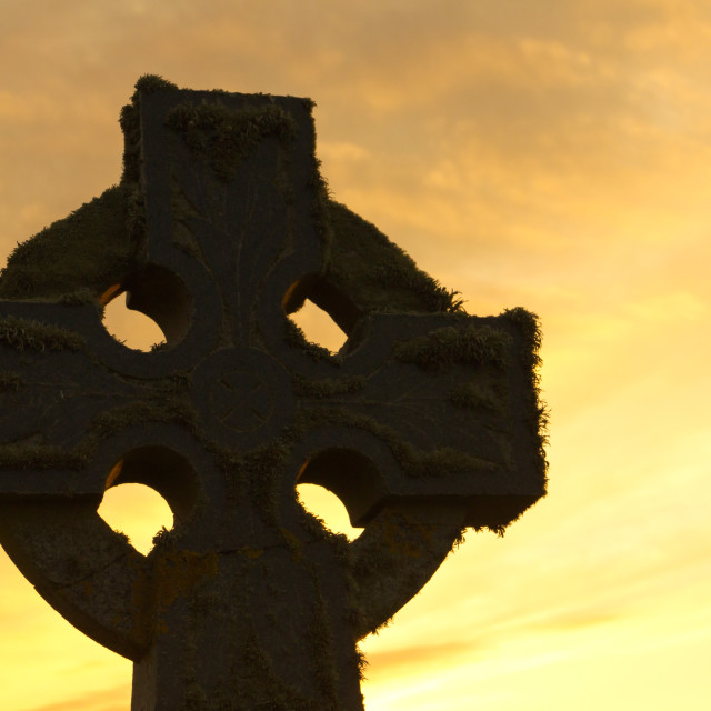 """Celtic cross at sunset"" stock image"