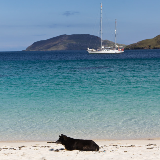 """Relax on Vatersay beach"" stock image"
