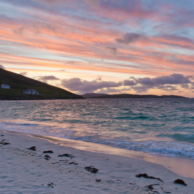 """Sunrise at Vatersay Beach"" stock image"