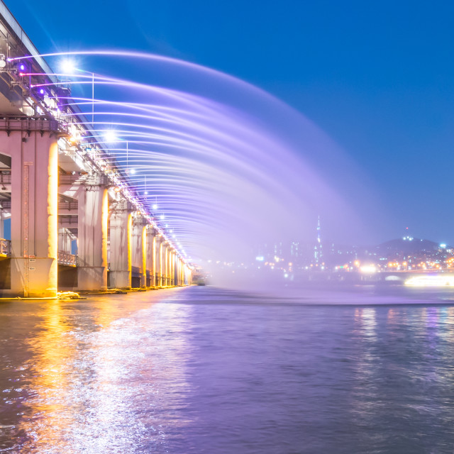 """A night view of Banpo Bridge, Seoul city with Rainbow Fountain S"" stock image"