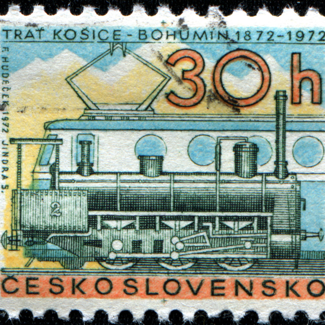 """Centenary of Kosice, Bohumin Railway, Steam Locomotive No. 2 and Class E499.0..."" stock image"