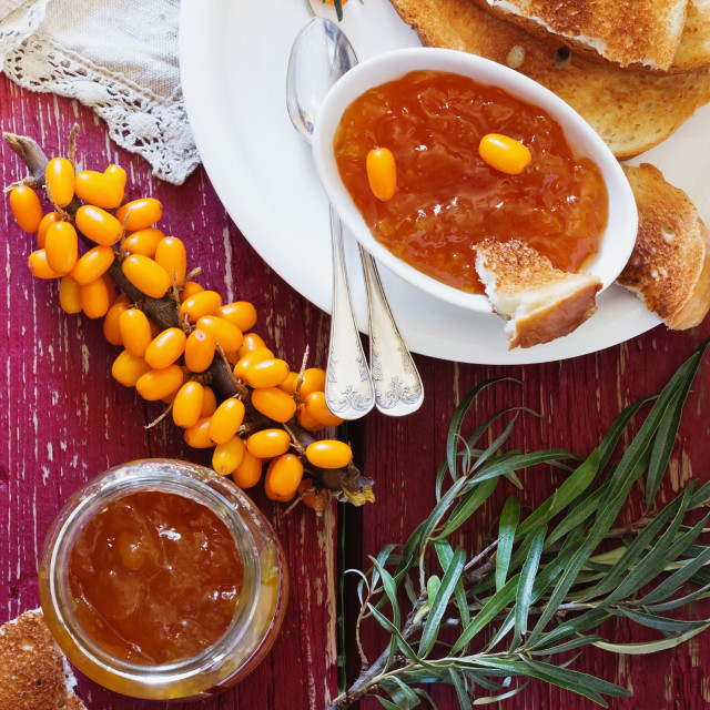 """Homemade sea buckthorn jam"" stock image"