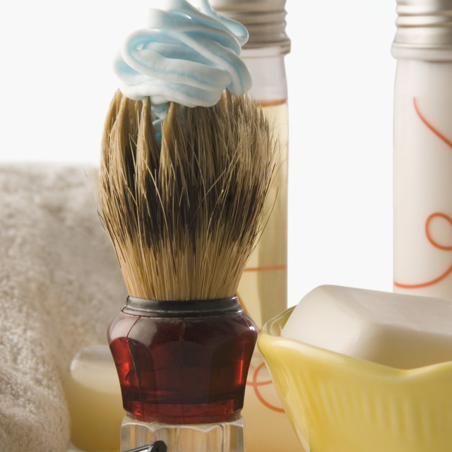 """Shaving brush with toiletries"" stock image"