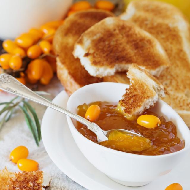 """Homemade sea buckthorn jam"" stock image"