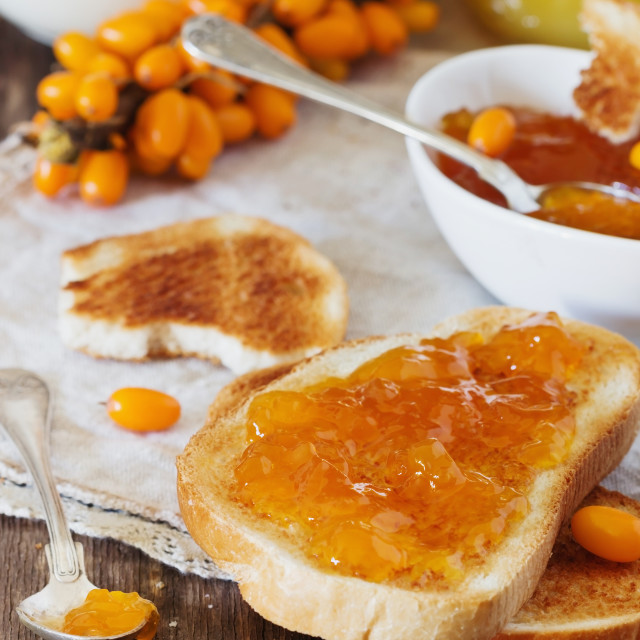 """Toast with homemade jam"" stock image"