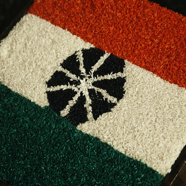 """""""Close-up of Indian flag made up of colored rice, Mussoorie, Dehradun..."""" stock image"""