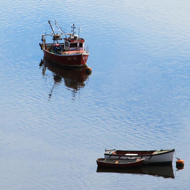 """""""Pastel Blue Water Moorings"""" stock image"""
