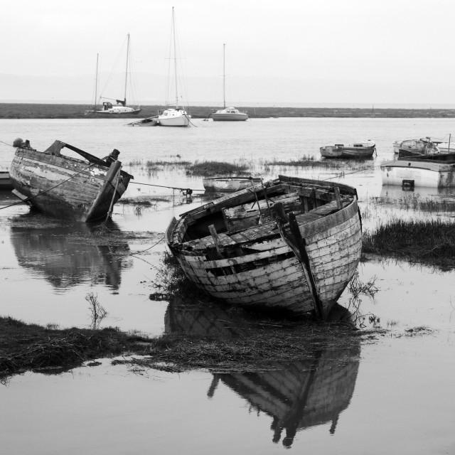 """""""The Old Boats At Sheldrake"""" stock image"""