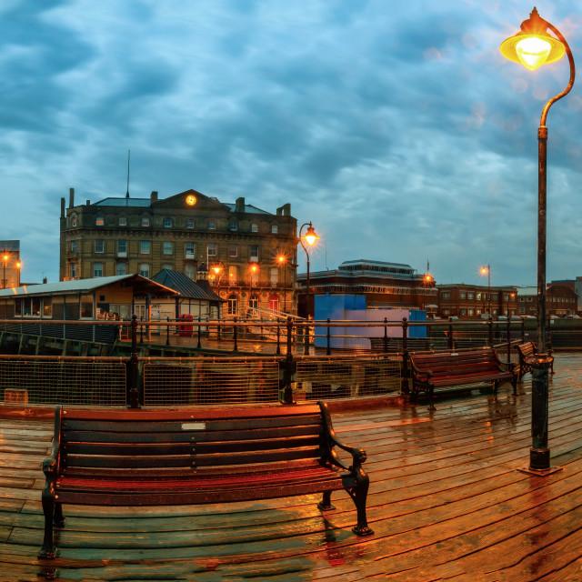 """Halfpenny Pier Panorama Twilight"" stock image"