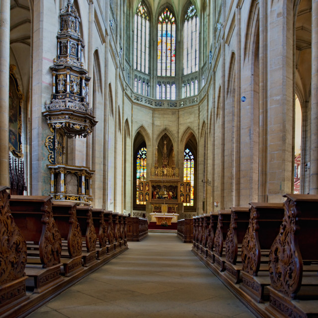 """inside cathedral in Kutna Hora"" stock image"