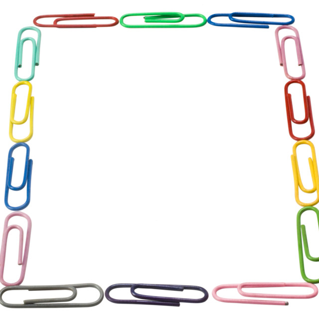 """""""Close-up of paper clips arranged in a rectangular shape"""" stock image"""