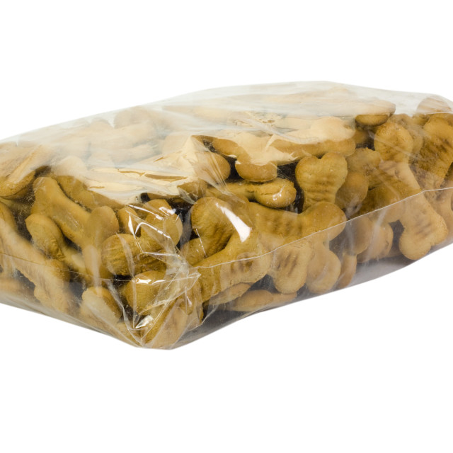 """Close-up of a packet of dog biscuits"" stock image"