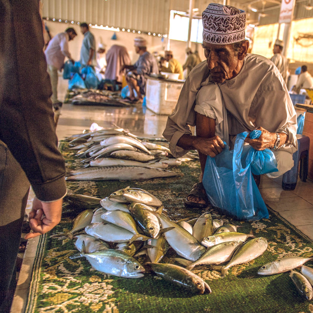 """""""Sale at the fish market"""" stock image"""