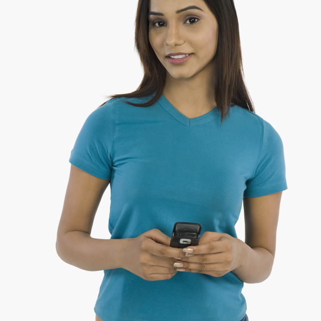"""""""Portrait of a woman holding a mobile phone"""" stock image"""