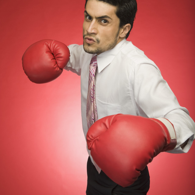 """Portrait of a businessman wearing boxing glove"" stock image"