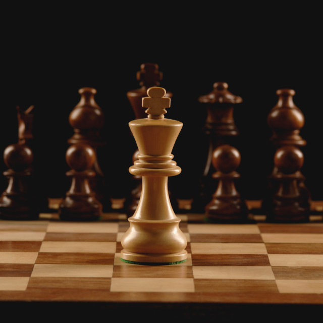"""""""Close-up of chess pieces on a chessboard"""" stock image"""