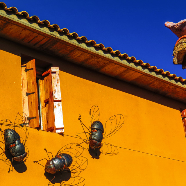 """""""Fuendetodos house with flies on wall"""" stock image"""