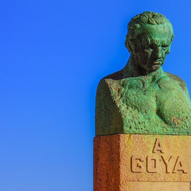 """Fuendetodos Goya Statue in Aragon, Spain"" stock image"