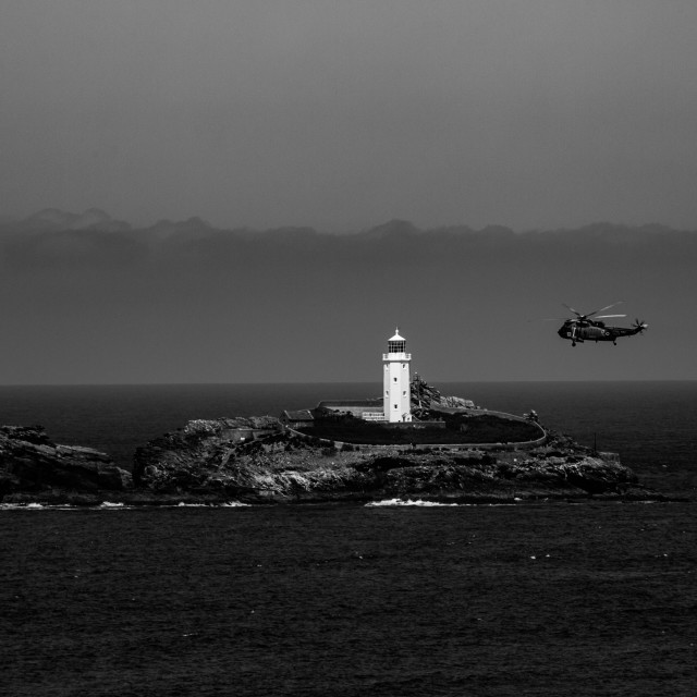 """Godrevy Lighthouse Fly-by"" stock image"