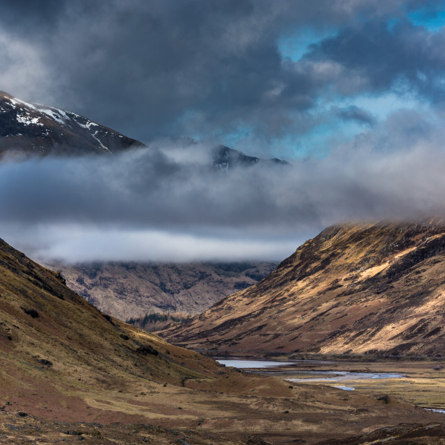 """A threatening Glen Coe"" stock image"
