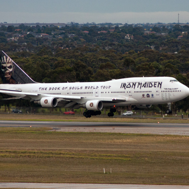 """Iron Maiden 747 landing"" stock image"