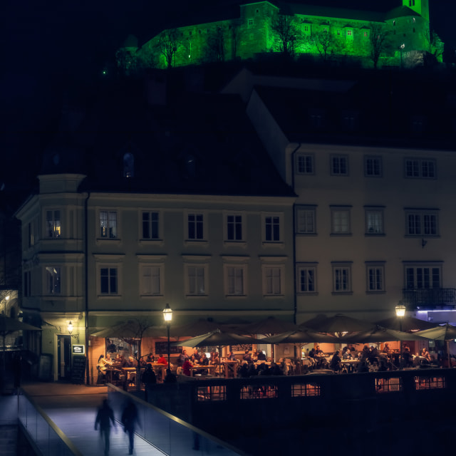 """Night out in Ljubljana"" stock image"