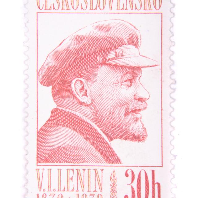 """Lenin postage stamp"" stock image"
