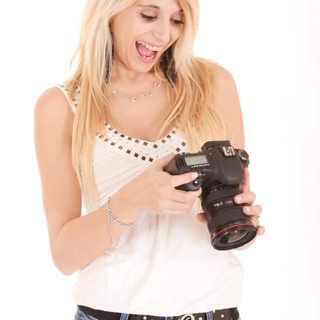 """blond woman using camera"" stock image"