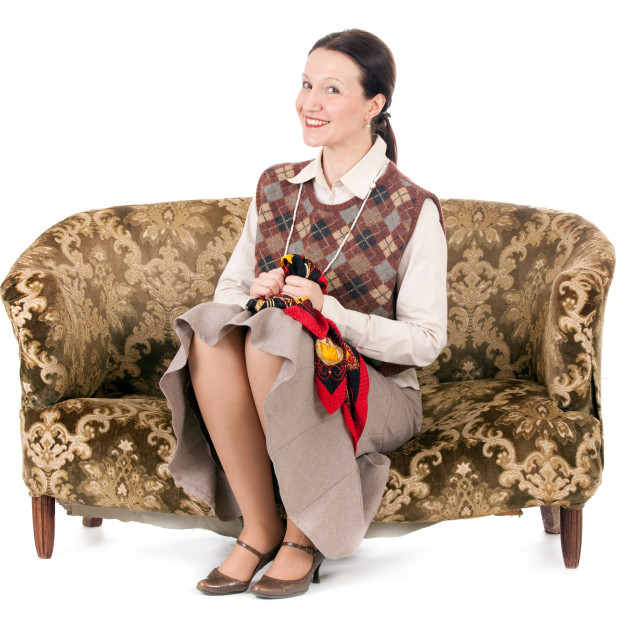 """""""kitsch woman on retro couch"""" stock image"""