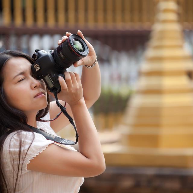 """""""woman shooting photo"""" stock image"""