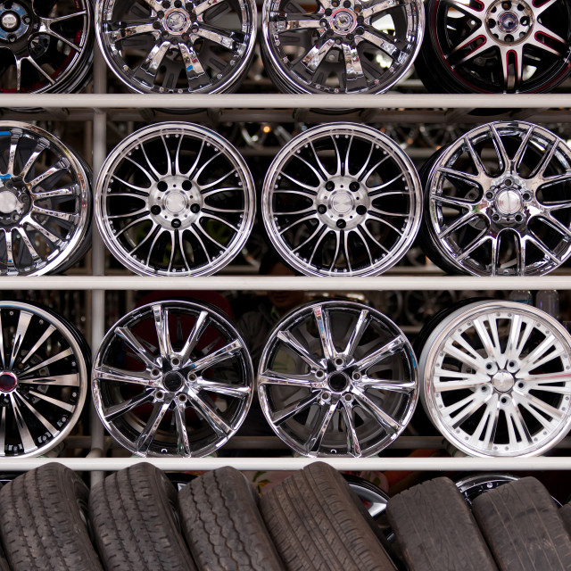 """alloy car wheels wall"" stock image"