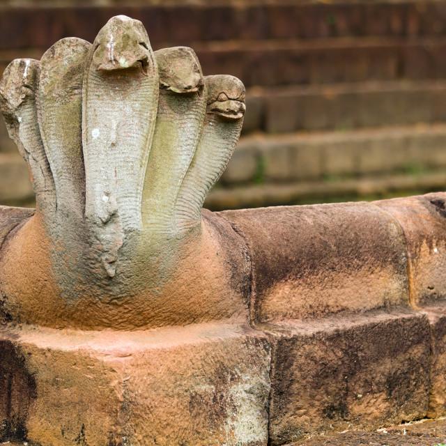 """""""snake khmer statue"""" stock image"""