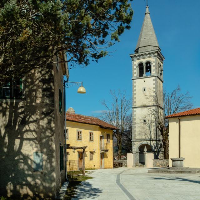 """""""Church of Sv. Kancijan and environs"""" stock image"""