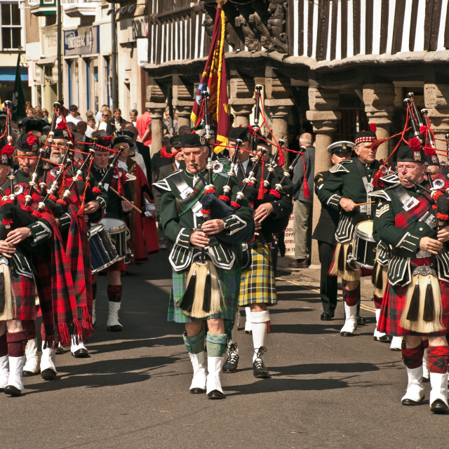 """Dartmouth - Scottish Pipers"" stock image"