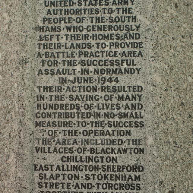 """Dartmouth - D-Day Memorial - Slapton Sands"" stock image"