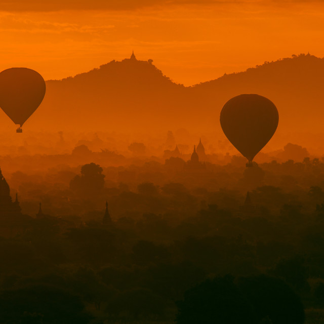 """Ballooning over Bagan #02"" stock image"