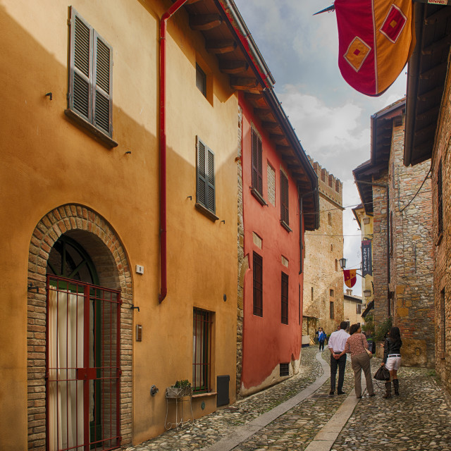 """""""Street in a historic Italaian Village."""" stock image"""