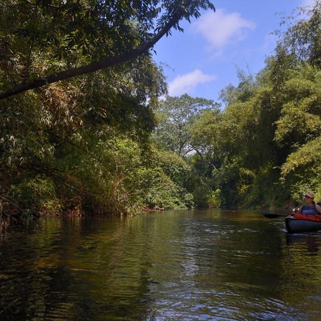 """Kayak trip on the river"" stock image"